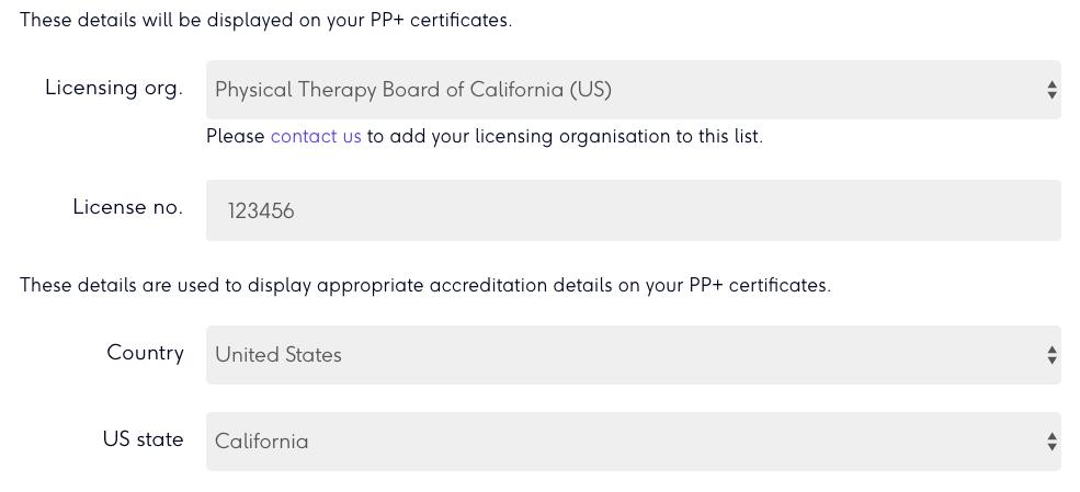 Profile licensing info