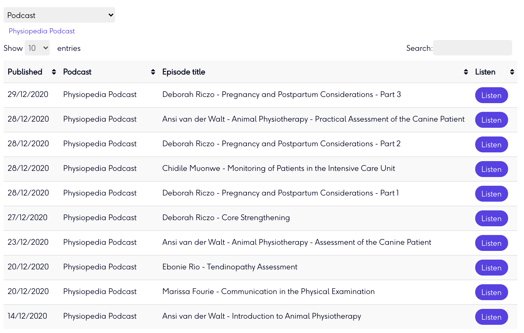Physiopedia podcasts for physiotherapy and physical therapy