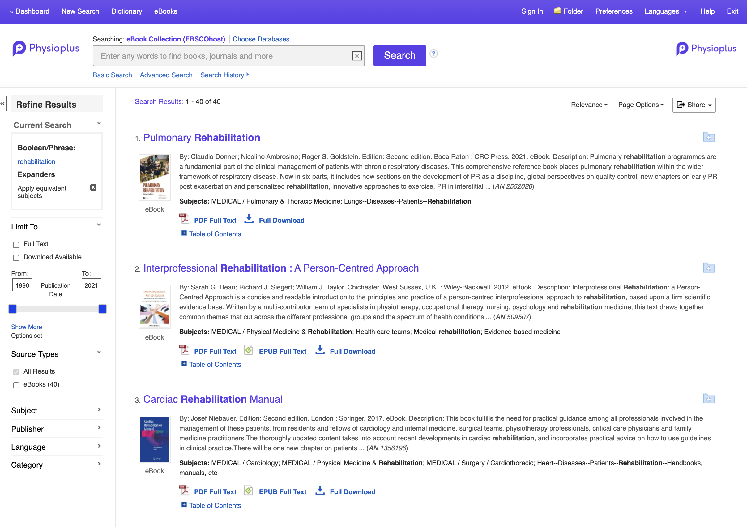 Online books and journal articles for physiotherapy and physical therapy