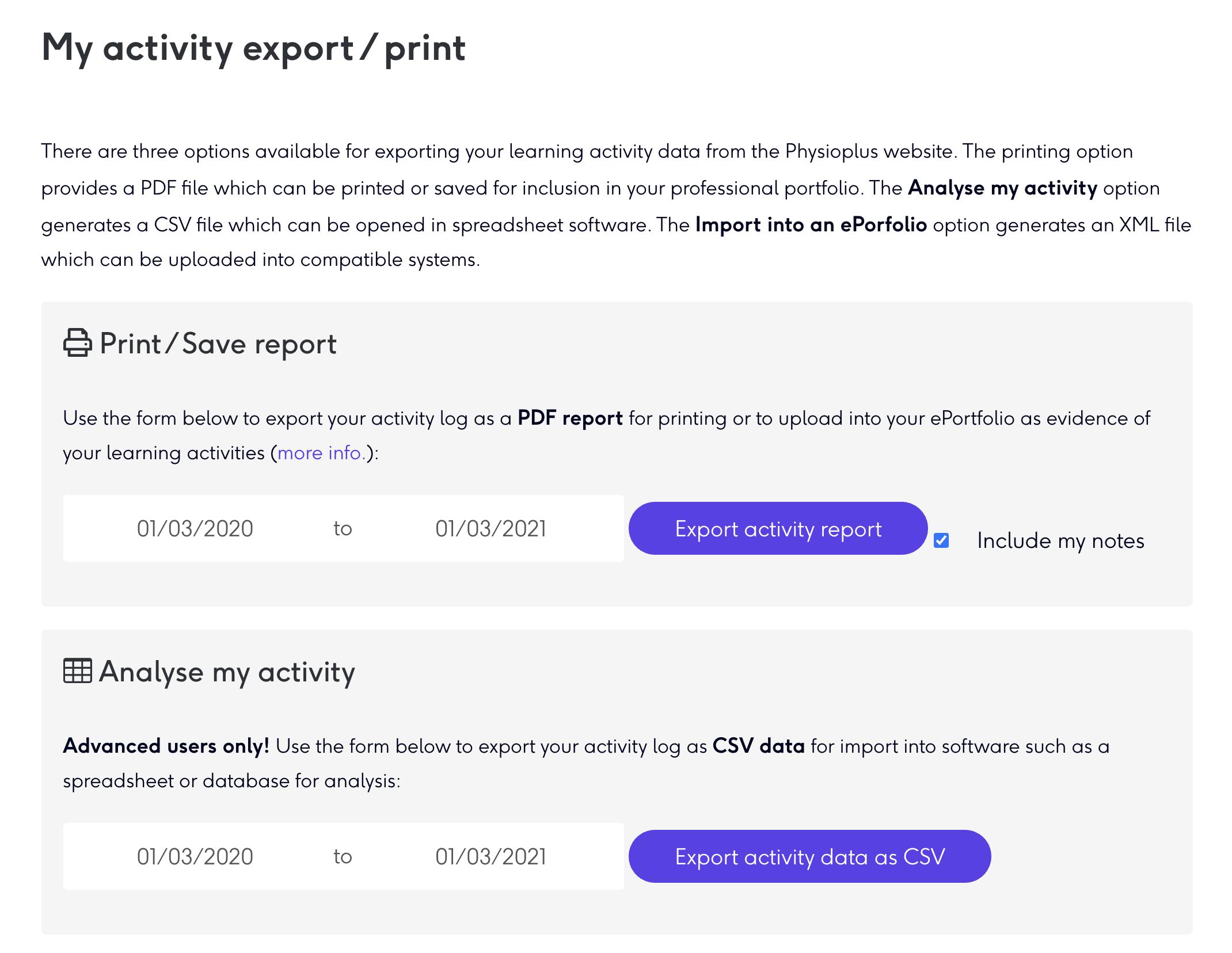 export your activity log