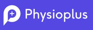 Physioplus logo banner - white on purple